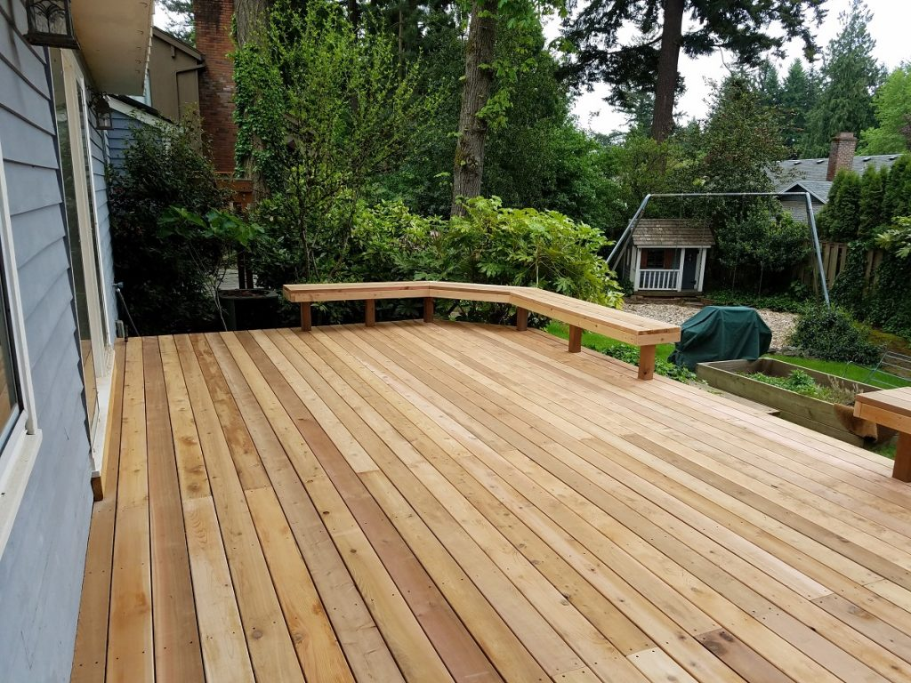Cedar deck with built-in benches