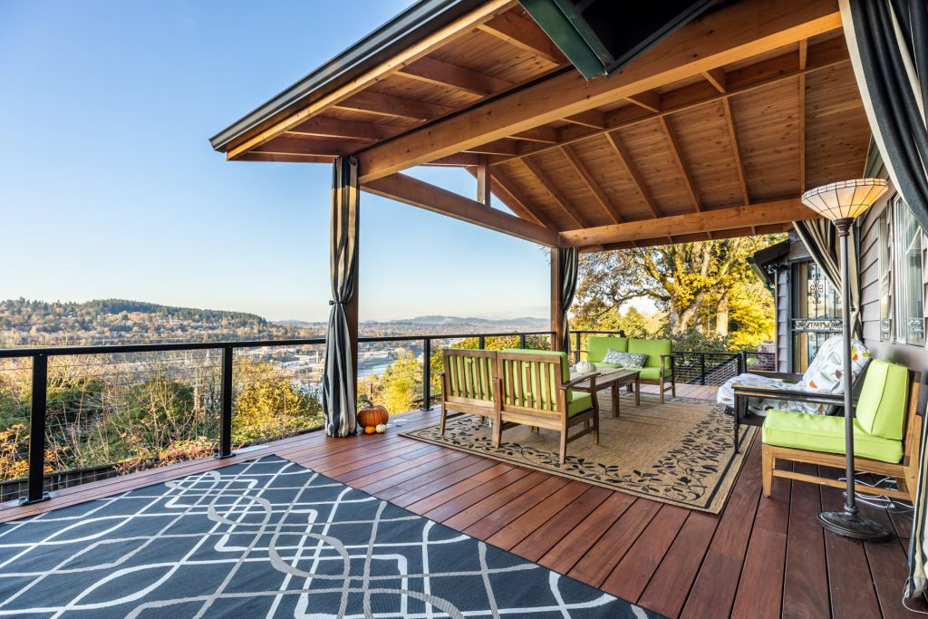 Deck and Patio Cover Overlooking View of Oregon