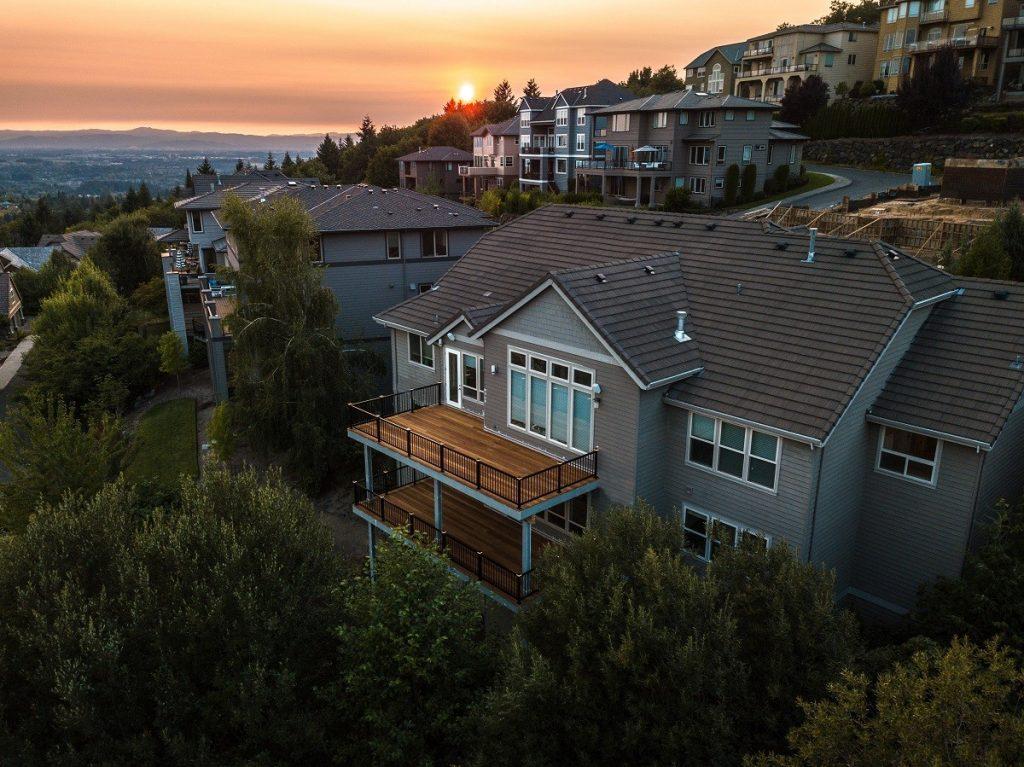 Finished Ipe hardwood deck overlooking the city of Portland
