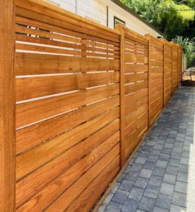 Natural Cedar stain on Leavenworth style semi-privacy fence