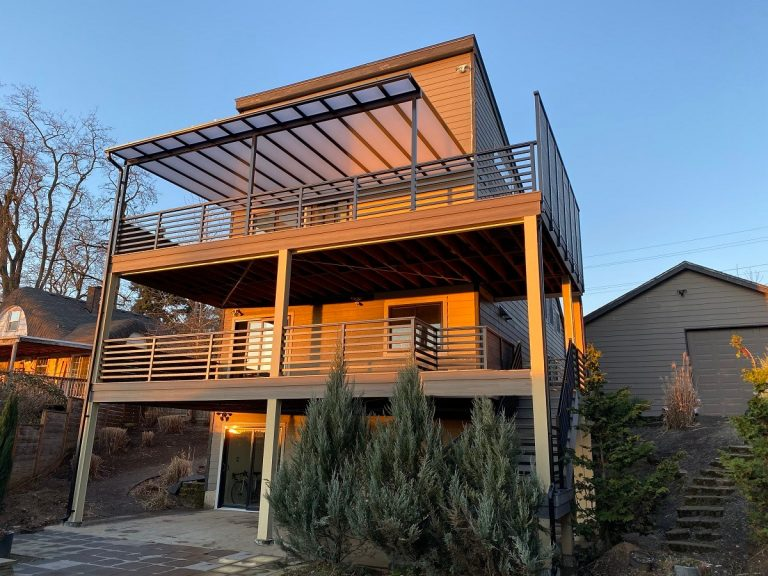 Multi-level deck in sunset, Portland, OR