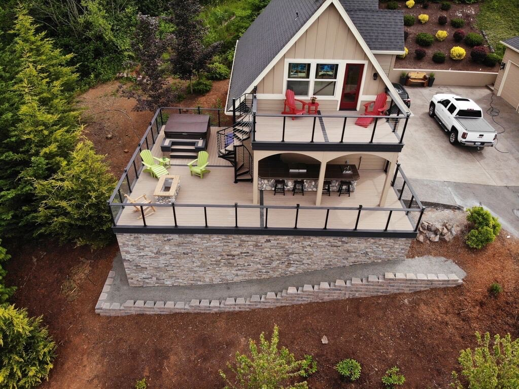 This large composite deck project provides ample outdoor living space.